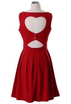Heart Cut Out Pleated Dress in Red - Best Sellers - Retro, Indie and Unique Fashion