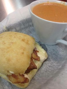 Chicken Bacon Ranch Swiss On A Ciabatta Roll Served With A Cup Of
