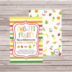 Two-tti Fruity Birthday Invitations, Tutti Fruitti Invitations, Twotti Fruitti Invites, Tropical Birthday, Printed Invitations-SET OF 10 by ConfettiPartyCompany on Etsy
