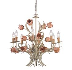 Buy the Crystorama Lighting Group Sage / Rose Direct. Shop for the Crystorama Lighting Group Sage / Rose Southport 8 Light Wide Chandelier with Iron Floral Accents and save. Flower Chandelier, Candle Chandelier, Chandelier Ceiling Lights, Ceiling Fans, Kitchen Chandelier, Antique Chandelier, Ceiling Pendant, Pendant Lamp, Lustre Floral
