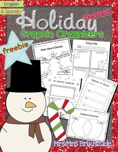 Freebie includes Holiday themed graphic organizers to use with any book or holiday topics/ subjects !! All organizers come in English and Spanish.