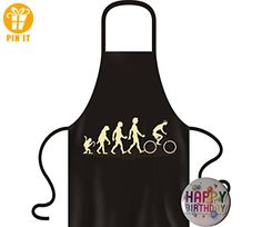 EVO AFFE -> RADFAHRER Schürze Geschenk: Evolution Affe zu Radler, Biker, radfahren, Fahrrad SCHWARZ +Button Happy Birthday - T-Shirts mit Spruch   Lustige und coole T-Shirts   Funny T-Shirts (*Partner-Link)