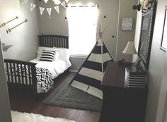 Gray Black White Gold Boy Room