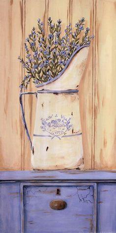 Belle Bleu Canvas Art - Jo Moulton x Decoupage Vintage, Decoupage Paper, Posters Vintage, Decoupage Printables, Lavender Cottage, Country Paintings, Shades Of Purple, Vintage Flowers, Purple Flowers