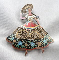 Vintage TOPAZIO Portugal SILVER Vermeil ENAMEL PIN BROOCH Lady Dancer Hat Flower