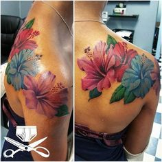 4 hours of grinding away. Had fun with this one. Bild Tattoos, Mom Tattoos, Cute Tattoos, Body Art Tattoos, Tattoos For Women, Sleeve Tattoos, Tatoos, Hawaiian Flower Tattoos, Hibiscus Flower Tattoos