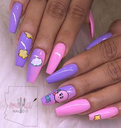 Amazing And Freash Acrylic Coffin Nails Art Designs In 2019 - Nail Art Connect Edgy Nails, Aycrlic Nails, Dope Nails, Swag Nails, Coffin Nails, Bling Nails, Summer Acrylic Nails, Best Acrylic Nails, Pastel Nails