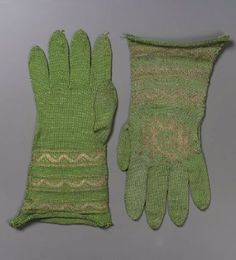 Pair of ecclesiastical gloves        Italian, Early 17th century         Italy  Dimensions      28.5 cm (11 1/4 in.)  Medium or Technique      Silk; knitted    Accession Number      43.1998a-b