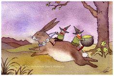Rabbit Art, Rabbit Card, St. Patricks Day Leprechaun Art Greeting Card, Bunny Rabbit and Leprechauns Watercolor Painting Print