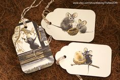 Gift Tags - Vintage Children's Book Illustrations - Set of 3 - Mice Theme. $3.50, via Etsy.