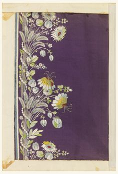 Violet ribbed ground embroidered in a border design of small flowers in white and pale colored silks.