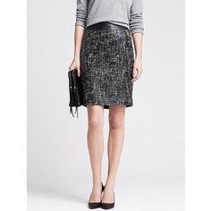 Banana Republic Womens Coated Tweed Pencil Skirt Size 0 - Br black