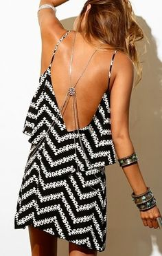 Chevron black and white mini dress trend... click on pic for more