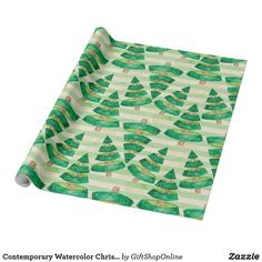 Contemporary Watercolor Christmas Trees On Stripes Wrapping Paper