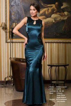 Teal blue satin evening gown