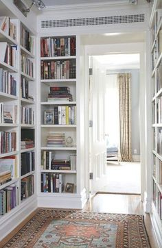 bookcases in a hallway/pass-thru