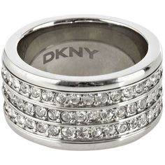Silver Thick Band Diamante Ring ($130) ❤ liked on Polyvore