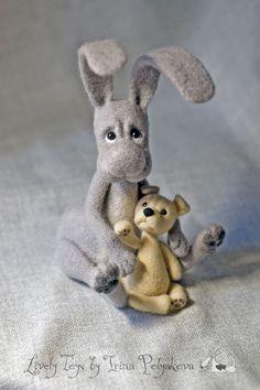 Needle felted hare Kuzya by Irina Polyakova. #felting #needlefelting #inspiration #needle_felting #hare #bunny #cute