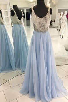 Gorgeous Blue Long Prom Dress with White Pearls