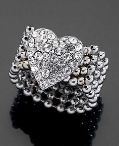 Guess Crystal Heart Stretch Ring