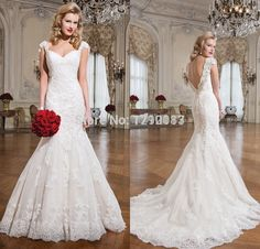 2015 Customize Sweetheart Cap Sleeves with Beads Long Vestido De Noiva Bridal Gown Lace Mermaid Wedding Dress Open Back
