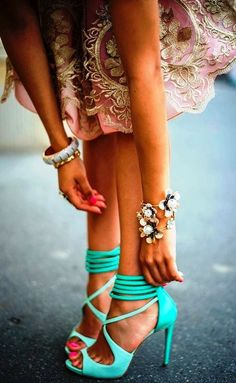Perfect mint high heel sandals.