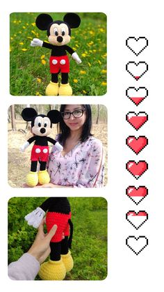 Mickey Mouse Crochet pattern - Amigurumi toy PDF pattern - Crochet Disney Toys - Mickey mouse stuff toy