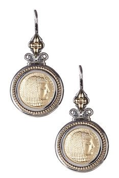Dani G Jewelry 14K Gold & Sterling Silver Cleopatra Coin Earrings
