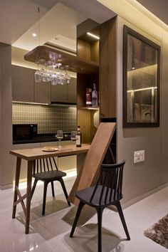 Modern Luxury Bedroom, Luxurious Bedrooms, Dining Room Design, Kitchen Design, Space Saving Table, Micro Apartment, Drop Leaf Table, Diy Kitchen Storage, Architect House
