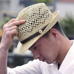 4051f563671 Hollow straw panama hat for men UV Leather buckle sun hats
