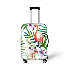 Elastic Travel Luggage Cover Tropical Trendy Pink Flamingos And Palm Leaves Suitcase Protector for 18-20 Inch Luggage