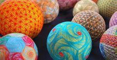 Hand-Crafted Geometric Spheres Made By 93-Year-Old... Temari balls,  Japan
