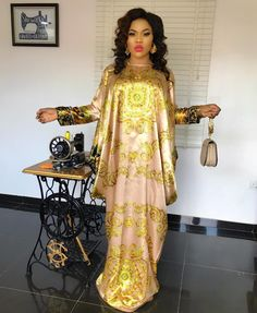 You're Gold Baby! Solid Gold 😍😍😍😍💛💛💛💛💛 Kaftan Available To Order Long African Dresses, Latest African Fashion Dresses, African Print Dresses, African Print Fashion, Abaya Fashion, Fashion Outfits, African Attire, African Women, Punk