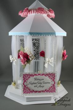 wishing you happiness today tomorrow and always - stunning paper crafted gazebo Paper Doll House, Paper Houses, 3d Paper Crafts, Paper Toys, Paper Crafting, Home Crafts, Fun Crafts, 3d Craft, Glitter Houses