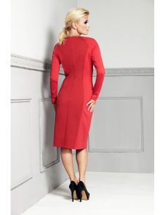Rochie cu maneca lunga - Rosu High Neck Dress, Dresses For Work, Gowns, Fashion, Turtleneck Dress, Dresses, Fashion Styles, Curve Dresses, Gown