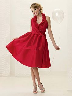 Taffeta Sexy Deep V neck with Halter ini Short A line Skirt Wholesale Red Bridesmaid Dress