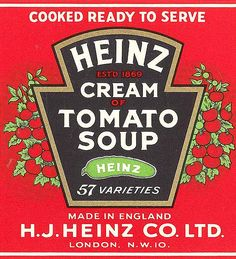 Original artwork made by Smith & Ritchie for Heinz tomato soup label. Label in red with 57 logo indicating the 57 varieties of products that Heinz make. Heinz Tomato Soup, Cream Of Tomato Soup, Pantry Labels, Food Labels, Vintage Labels, Vintage Ads, Vintage Signs, Sopa Campbell, Kitchen Poster