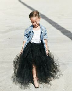 Girl Kids Fashionable tutu and denim jacket Baby Outfits, Tutu Outfits, Toddler Outfits, Cute Kids Fashion, Little Girl Fashion, Toddler Fashion, Boy Fashion, Tutus For Girls, Girls Dresses