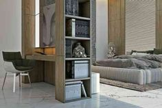 chambre à coucher avec aménagement bureau