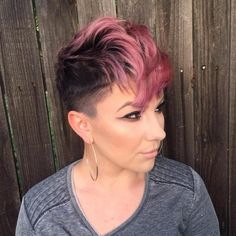 Pastel Pink And Brown Pixie Fauxhawk