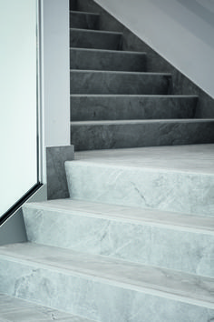 Ceramic tiles and stairs by Bomarbre. Marble Interior, Interior Stairs, Interior Design, Stair Railing, Stair Idea, Marble Staircase, House Stairs, Stairways, Entrance