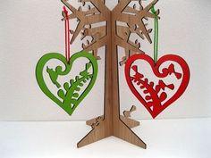Xmas Bird Heart Decorations - set of 2 Summer Christmas, Christmas Crafts, Christmas Ornaments, Christmas Ideas, Bamboo Plywood, Kiwiana, Heart Decorations, Jewelry Tree, Deck The Halls