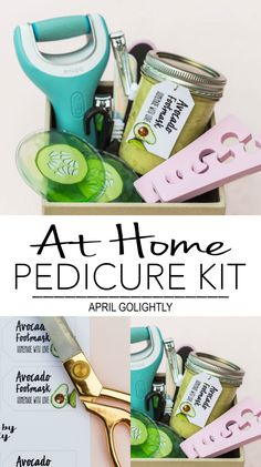 DIY Pedicure Kit with Free Printable jar tag with Amopé Pedi Perfect Wet & Dry™ Rechargeable Foot File, Avocado Foot Mask, and cucumber eye-mask and more