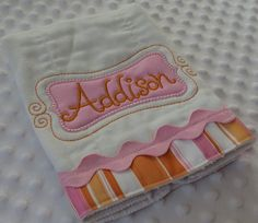 Personalized baby BuRP CLoTH with aPPLiQueD by mylittlehedgehog