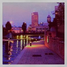 Indianapolis Canal Walk. Awesome for a jog or a bike ride or even a stroll with with a date.