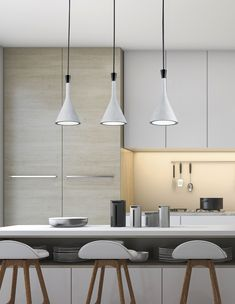 Women Likes: Concrete Veneer Pendants Give Modern Aura to Sleek White Kitchen Dining Table Pendant Light, Dining Table Lighting, Pendant Lamp, Pendant Lighting, Minimal Kitchen, Mid Century Modern Lighting, Lamp Design, Home Lighting, Minimalist Design