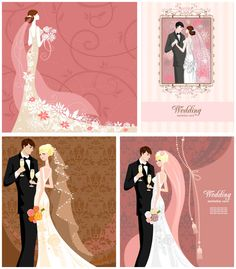 contemporary clip art | Modern wedding invitations with bride and groom vector | Vector ...