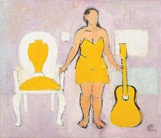 Woman with Guitar - Alexandru Ciucurencu Post Impressionism, Impressionist, Frasier Crane, Socialist Realism, Art Database, Art World, Disney Characters, Fictional Characters, Painters
