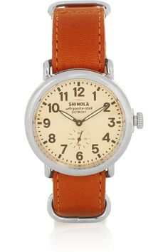 Shinola / Runwell stainless steel and leather watch