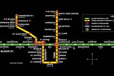 The Toronto subway map might not be as iconic as London's or as comprehensive as New York's, but it has its own charms. From day one, the TTC has m. Toronto Subway, Nyc Subway Map, Rosedale Toronto, Brighton Map, North York, Train Travel, Evolution, Maps, Happy Trails